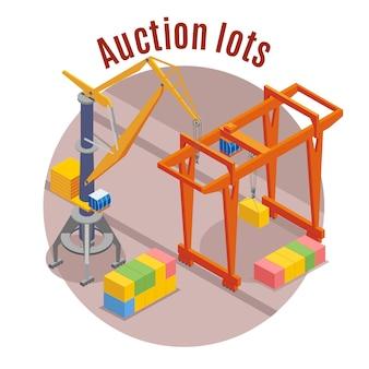 Port isométrique coloré avec description des lots de vente aux enchères et illustration de forme ronde