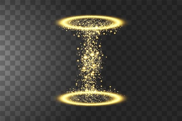 Portail fantastique magique. effet lumineux. des étincelles sur un fond transparent.