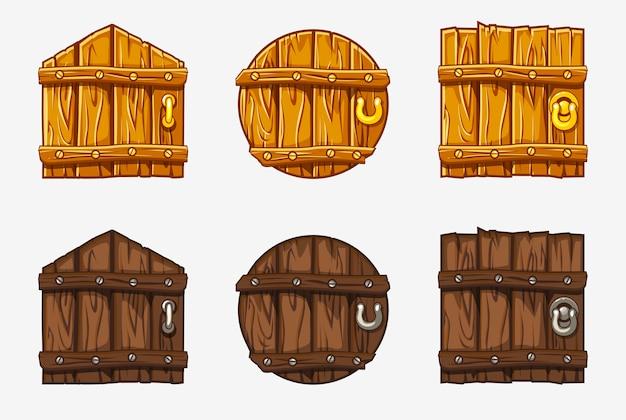 Porte en bois de dessin animé, atouts pour le jeu
