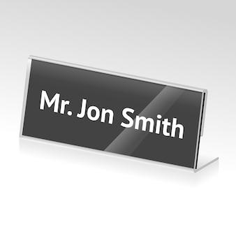 Porte-cartes en acrylique de vecteur pour événements avec nom