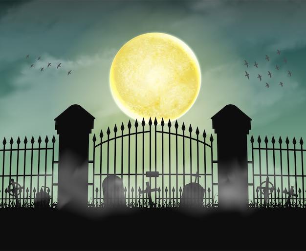 Porte de cimetière de silhouette cimetière avec nuit de lune