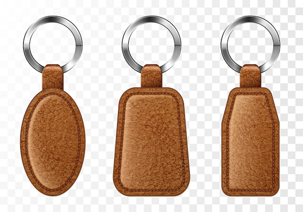 Porte-clés en cuir, ensemble de porte-clés marron.