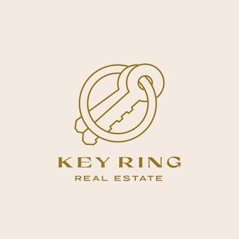 Porte-clés immobilier abstrait contemporain signe minimal ou modèle de logo linéaire décrit les clés compos...
