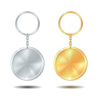 Porte-clés en métal serti d'or et d'argent