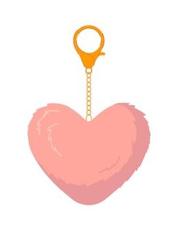 Porte-clés avec pendentif coeur isolated on white
