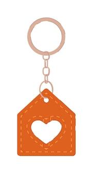 Porte-clés avec pendentif maison en cuir médaillon