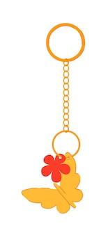 Porte-clés avec pendentif papillon en or isolé sur blanc