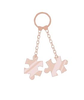 Porte-clés avec des pièces de puzzle sur isolated on white