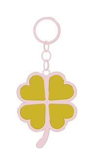 Porte-clés avec trèfle à quatre feuilles isolé sur blanc