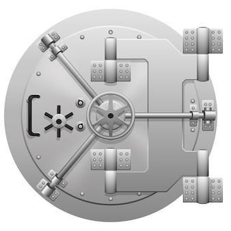 Porte de coffre-fort métallique isolé sur blanc