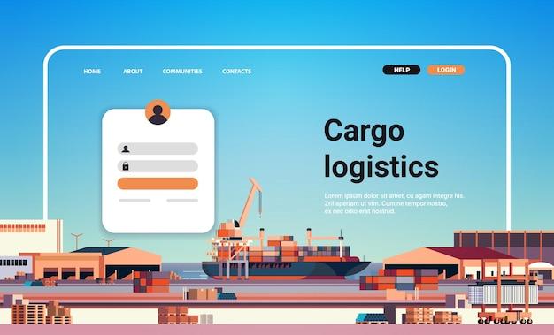 Porte-conteneurs, chargement, dans, port maritime, site web, page d'atterrissage, modèle, cargaison, logistique, transport, transport, concept, horizontal, copie, espace, vecteur, illustration