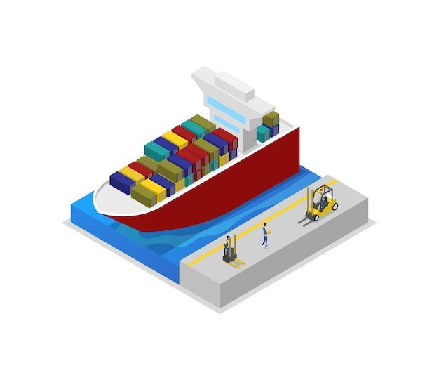 Porte-conteneurs dans l'illustration 3d isométrique du port