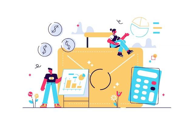 Porte-documents, calculatrice et comptables travaillant avec des graphiques et un ordinateur portable. comptabilité, analyse financière et concept de planification sur fond blanc. illustration isolée violet vif brillant