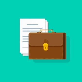 Porte-documents près de nombreux documents papier vector illustration style cartoon plat