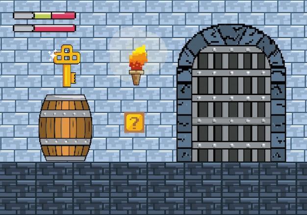 Porte du château avec clé dans le baril et barres de vie