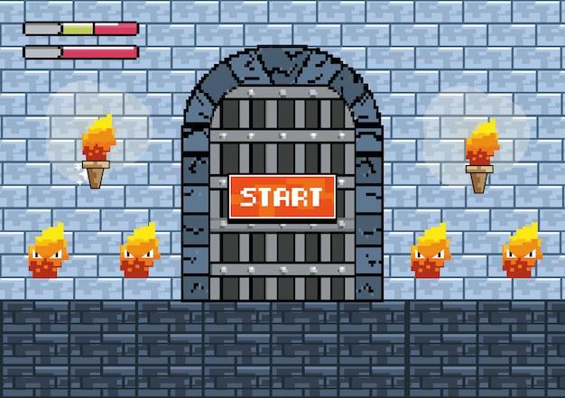 Porte du château avec des torches et des personnages de feu