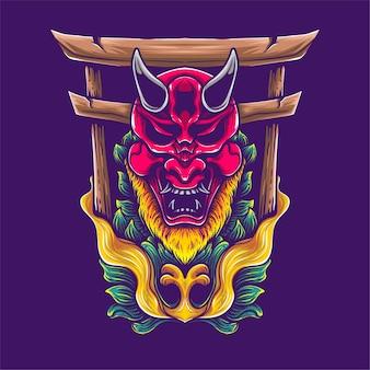 Porte de l'enfer avec la culture japonaise oni