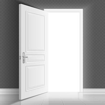 Porte d'entrée blanche ouverte