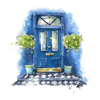Porte d'entrée de maison traditionnelle britannique, peinture à l'aquarelle