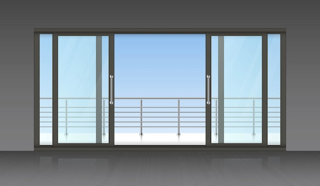Porte extérieure coulissante et fond de terrasse