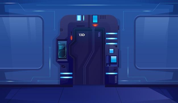 Porte fermée de vaisseau spatial coulissant avec des lampes bleues