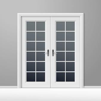 Porte fermée de vecteur blanc avec cadre