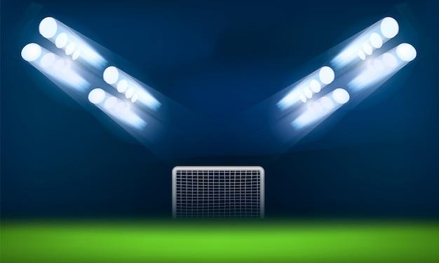 Porte de football dans le concept de lumière, style réaliste