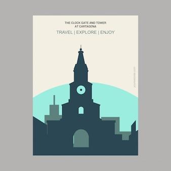 La porte de l'horloge et la tour de carthagène bolavar, colombie