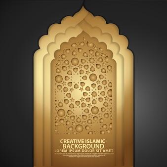 Porte de mosquée réaliste, fond de luxe islamique créatif.