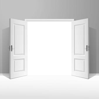 Porte ouverte de vecteur blanc avec cadre