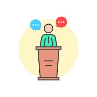 Porte-parole linéaire derrière le stand. concept de master class, vote, réunion, instructeur, piédestal, narrateur, mentor, annonce, quiz. illustration vectorielle de style plat tendance logo design sur fond blanc