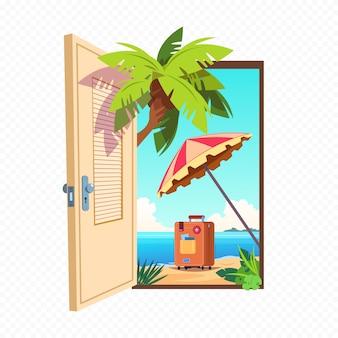 Porte à ressort ouverte sur fond transparent. entrée ouverte avec paysage d'été en plein air.