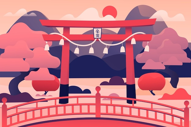 Porte torii japonaise et arbres roses