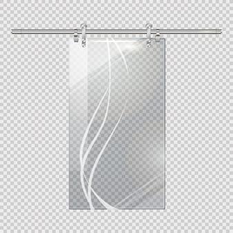 Porte transparente en mouvement sur fond de carreaux