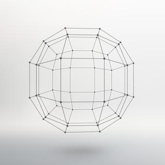 Portée des lignes et des points. boule des lignes reliées aux points. réseau moléculaire. la grille structurelle des polygones. fond blanc. l'installation est située sur un fond de studio blanc.
