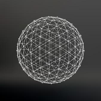 Portée des lignes et des points. boule des lignes reliées aux points. réseau moléculaire. la grille structurelle des polygones. fond noir. l'installation est située sur un fond de studio noir.