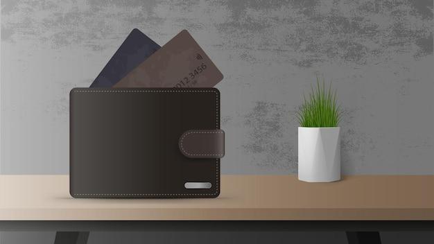 Portefeuille avec de l'argent et des cartes de crédit sur la table. le concept d'épargne et d'accumulation d'argent. bon pour les présentations et les articles liés aux affaires.
