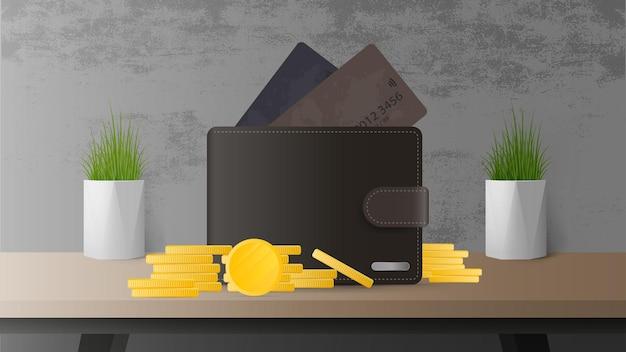 Portefeuille avec de l'argent et des cartes de crédit sur la table. le concept d'épargne et d'accumulation d'argent.