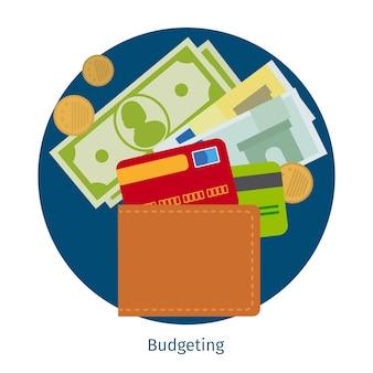 Portefeuille avec de l'argent et des cartes de crédit