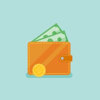 Portefeuille avec de l'argent. illustration de style plat.
