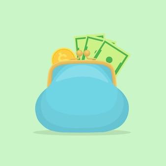 Portefeuille avec de l'argent de poche. sac à main avec de l'argent isolé sur fond.