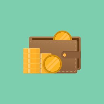 Portefeuille et argent vector illustration