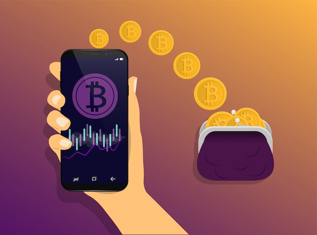 Portefeuille bitcoin. le concept d'envoi de portefeuille en ligne de bitcoins. opérations bitcoin.