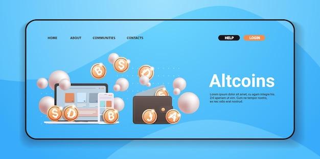 Portefeuille crypto avec des pièces d'or concept de monnaie numérique de technologie blockchain de crypto-monnaie