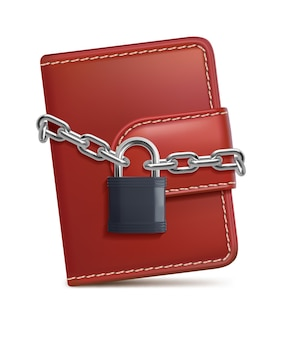 Portefeuille en cuir avec cadenas et chaîne