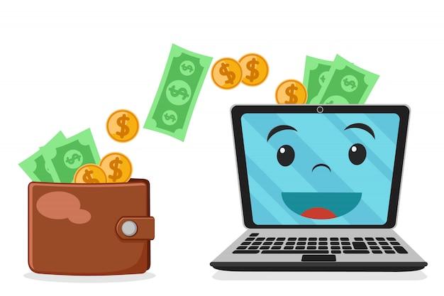 Le portefeuille envoie de l'argent sur un ordinateur portable sur un fond blanc.