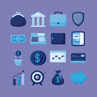 Portefeuille avec finances icônes économie définie