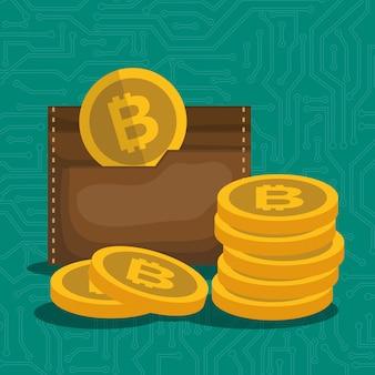 Portefeuille avec icône bitcoins