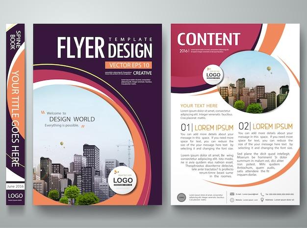 Portefeuille de livre de couverture de cercle orange abstrait dans la mise en page a4