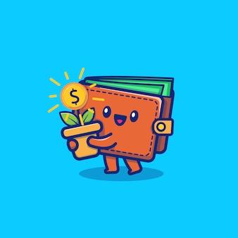 Portefeuille mignon argent cartoon vector icon illustration. affaires et finances icône concept isolé vecteur premium. style de dessin animé plat